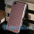 Brown Luxury Bling Crystal Star Hard Case Skin+Free Film For iPhone 4