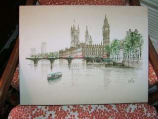 Moss Oil Painting showing London Bridge Big Ben w tag