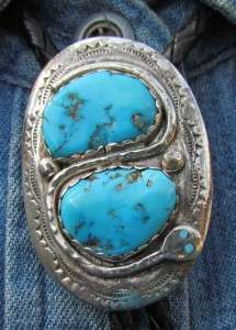 VINTAGE ZUNI INDIAN STERLING SILVER EFFIE C TURQUOISE SNAKE BOLO TIE