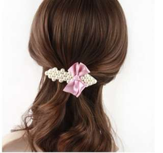 New Fashion Bowknot Pearl Hair Bow Barrette Alligator Clip Hairpin PIN