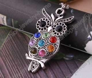 Fashion Retro Silver Cute Crystal Owl Pendant Chain Necklace