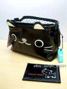 Japan Wara Heko Black Cat Cosmetic Bag Purse w/ Mirror