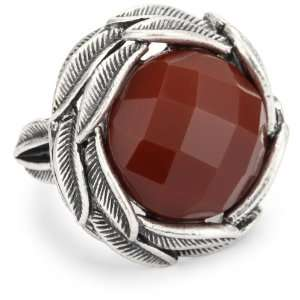 Lucky Brand Bohemian Silver Tone Carnelian Set Stone Ring, Size 7