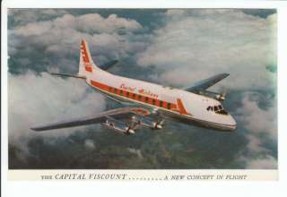 Capital Airlines Viscount Airplane Plane Old Postcard Vintage Airline