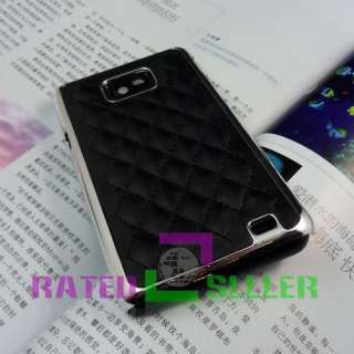 Luxury Black Designer Leather Chrome Hard Case Cover Samsung Galaxy S2