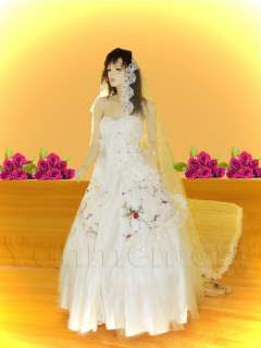 White 1T Wedding Bridal Veil Lace Edge Cathedral Length