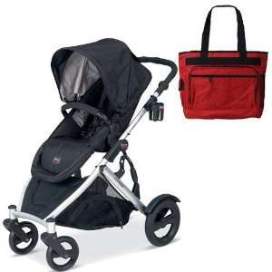 Britax BSTRBLKBAG B Ready Stroller   Black with a Red Diaper Bag: Baby