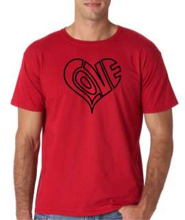 Mens Love Heart Outline Red Valentines Day T Shirt Tee