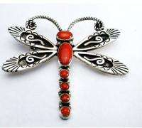 Navajo Handmade Sterling Silver Red Coral Dragonfly Brooch Pin