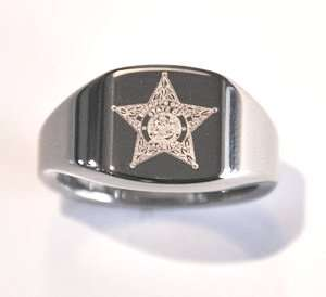 Florida Sheriff Star Tungsten Carbide Ring Szs 7   14