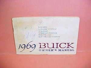 1969 BUICK LESABRE WILDCAT ELECTRA 225 ORIGINAL OWNERS MANUAL SERVICE