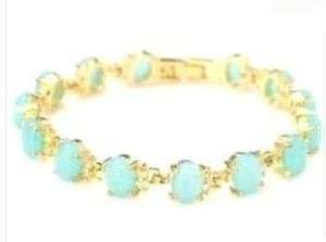 Beautiful 18K Gold Plated blue opal bracelet 7.5