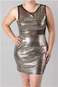 Plus Size Sequin Mesh Mini Dress 1X 2X 3X