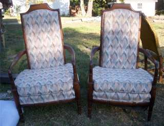 Pair of Large Walnut High Back Armchairs/Chairs