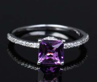 CUT DARK PURPLE AMETHYST   14K WHITE GOLD PAVE DIAMOND ENGAGEMENT RING