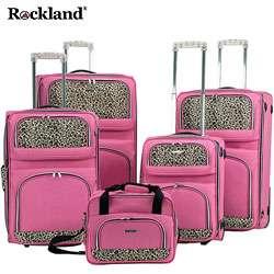 Rockland Pink Leopard Print 5 piece Luggage Set