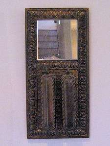 ANTIQUE BRASS VALET WALL MIRROR AND BRUSH SET