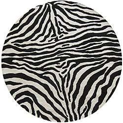 Alexa Zebra Animal Pattern Black/ White Wool Rug (8 Round