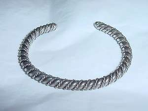 STERLING/COIN SILVER NATIVE AMERICAN WIRE TWIST CUFF BRACELET