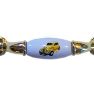 Yellow with Blue Flames Hot Rod Car BRASS DRAWER Pull