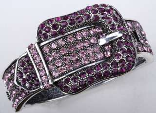 Purple pink swarovski crystal belt bangle bracelet