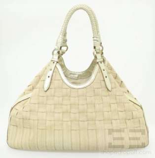 Natural Woven Canvas & Gold Braided Leather Trim Shoulder Bag