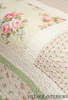 10pc SPRING PINK ROSES CHIC n SHABBY QUEEN QUILT, SHAMS, BEDSKIRT