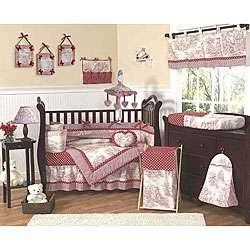 Red French Toile/ Polka Dot Baby Crib Bedding Set