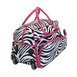 Traveler 21 inch Zebra Carry On Rolling Duffel Bag