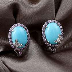 Vian 14k Gold Diamond, Sapphire and Turquoise Earrings