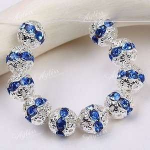 10PCS 8mm Blue Crystal Rhinestone Spacer Beads Flower Silver Plated