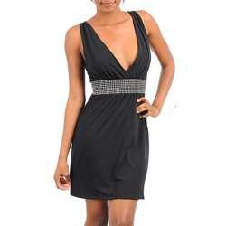Stanzino Womens Black Rhinestone Sleeveless V neck Dress
