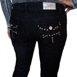 Silver Diva Womens Black Rhinestone Skinny Denim Jeans
