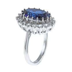 Sterling Silver Created Blue Sapphire and White Topaz Diana Ring