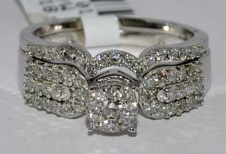 WEDDING SET BRIDAL ROUND TOP WHITE GOLD .64CT 2PC ENGAGEMENT RING