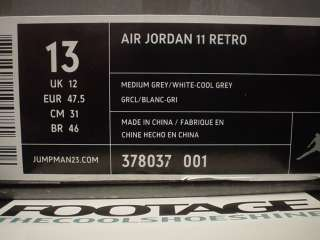2010 Nike Air Jordan XI 11 Retro COOL GREY WHITE PATENT LEATHER DS NEW