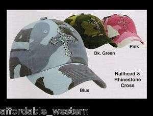 Pink Blue Camouflage ~Camo BALL CAP~ Crystal Cross Girl
