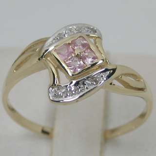 34 CARATS 14K SOLID YELLOW GOLD NATURAL PINK SAPPHIRE CLUSTER DIAMOND