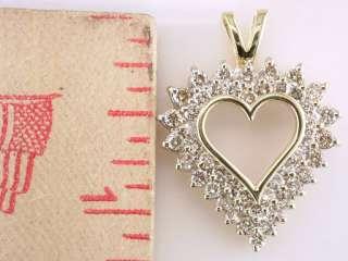Diamond 2.00ct 14K Yellow Gold Heart Necklace Pendant Jewelry