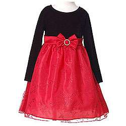 Bonnie Jean Girls Red Holiday Christmas Dress  Size 6