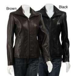 Jones New York Womens Leather Scuba Jacket