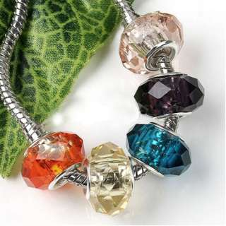 10P Mixed Sterling Silver Murano Crystal Glass Facted Charm Beads Fit