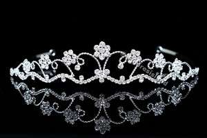Bridal Flower Rhinestone Crystal Wedding Prom Princess Crown Tiara