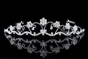Bridal Flower Rhinestone Crystal Wedding Prom Princess Crown Tiara