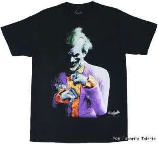 DC Comics Batman Arkham City Grimacing Joker Adult Shirt S XXL