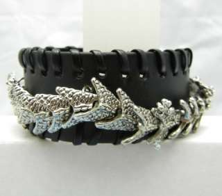 Gothic Punk Rock Biker Chinese Dragon Bracelet Leather Cuff Wristband