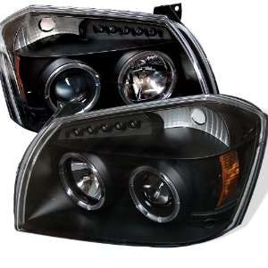 Dodge Magnum 05 06 07 Projector Halo Headlights with LED   Black (Pair
