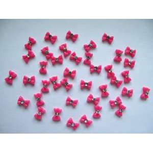 Nail Art 3d 40 Pieces small Hot Pink Bow /Rhinestone for