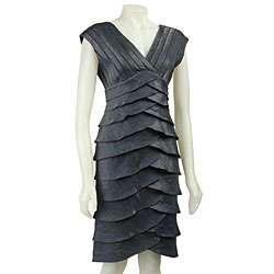 Adrianna Papell Womens Sleeveless Tiered Dress