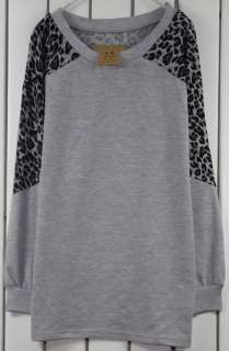 Grey Women NWT Casual Leopard Long Sleeve T shirt Dress